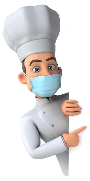 Ilustração 3d de um personagem de desenho animado com uma máscara para prevenção de coronavírus Foto Premium