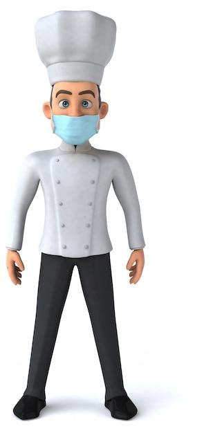 Ilustração 3d de um personagem de desenho animado com uma máscara Foto Premium