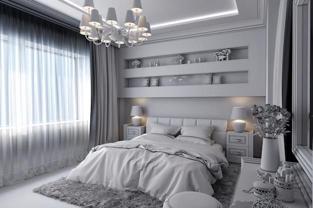Ilustração 3d de um quarto branco no estilo clássico Foto Premium