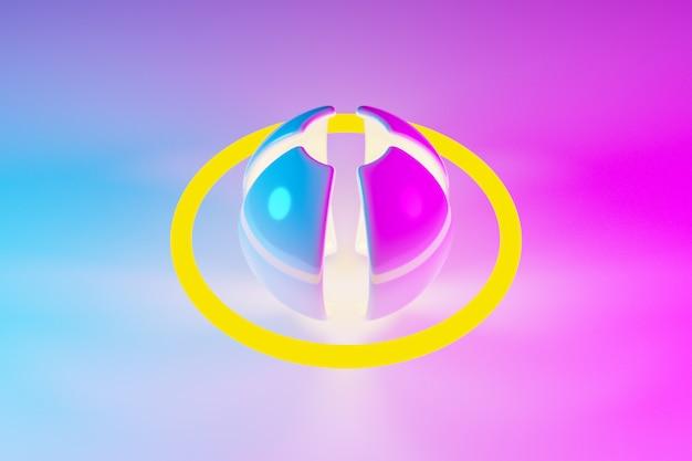 Ilustração 3d de uma bola de néon rosa e amarela com pétalas e oribt brilha seus raios em direções diferentes na luz de fundo Foto Premium