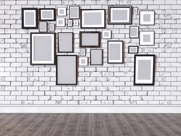 Ilustração 3d de uma imagem em uma parede Foto Premium
