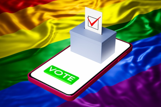 Ilustração 3d de uma urna de votação com um outdoor de pé em um smartphone, com a bandeira lgbt ao fundo. conceito de votação online, digitalização de eleições Foto Premium