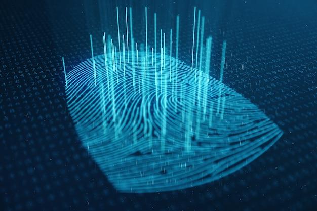 Ilustração 3d digitalização de impressões digitais fornece acesso de segurança com identificação biométrica Foto Premium