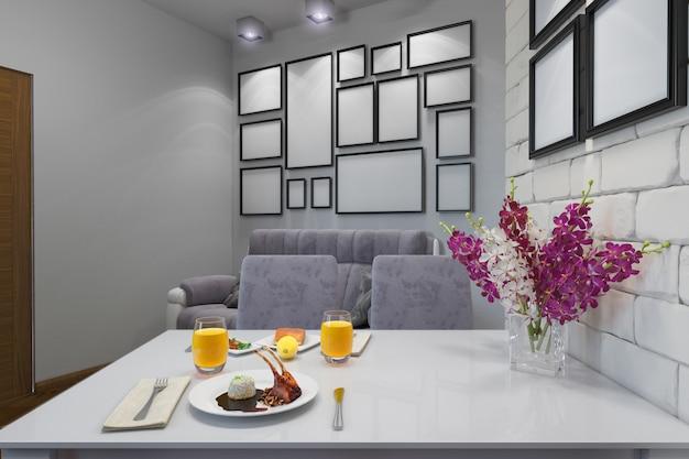 Ilustração 3d do apartamento de um quarto Foto Premium