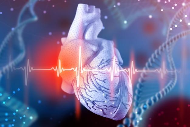 Ilustração 3d do coração e do cardiograma humanos. tecnologias digitais em medicina Foto Premium