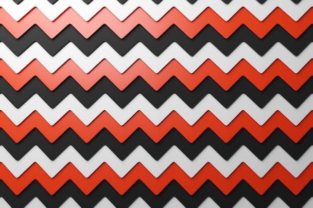 Ilustração 3d do padrão geométrico vermelho, preto e branco de um padrão impressão decorativa, padrão. Foto Premium