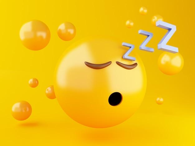 Ilustração 3d. dormir emoji ícone em fundo amarelo Foto Premium