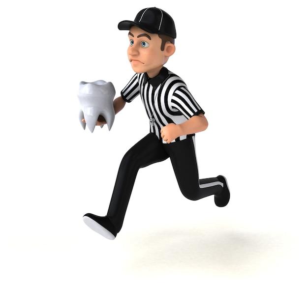 Ilustração 3d engraçada de um árbitro americano Foto Premium