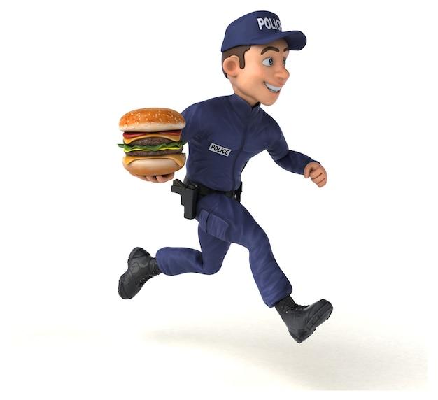 Ilustração 3d engraçada de um policial de desenho animado Foto Premium