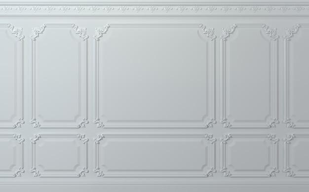 Ilustração 3d. parede clássica de painéis de madeira brancos. marcenaria no interior. fundo. Foto Premium
