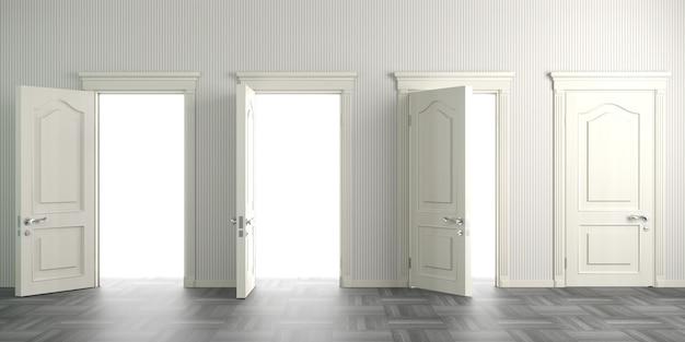 Ilustração 3d. portas clássicas brancas no salão ou no corredor. interior do fundo. Foto Premium