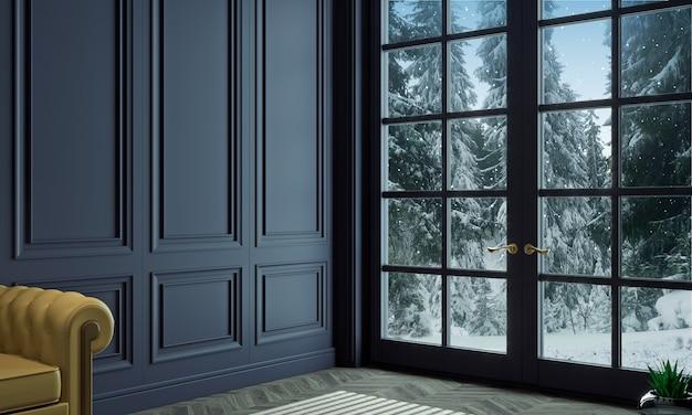 Ilustração 3d. sala de estar com painéis clássicos de madeira azul e janela no inverno Foto Premium