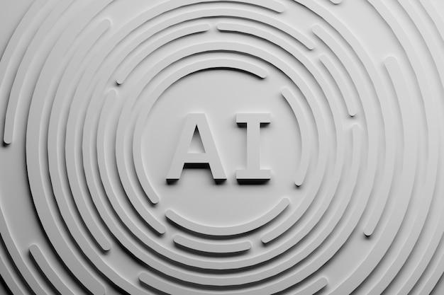 Ilustração abstrata branca com letras do ai e formas circulares. Foto Premium