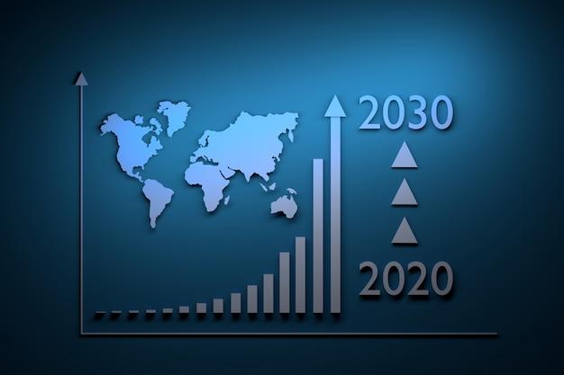 Ilustração com crescimento infográficos - crescimento exponencial ao longo do período de 2020 a 2030 e mapa do mundo Foto Premium