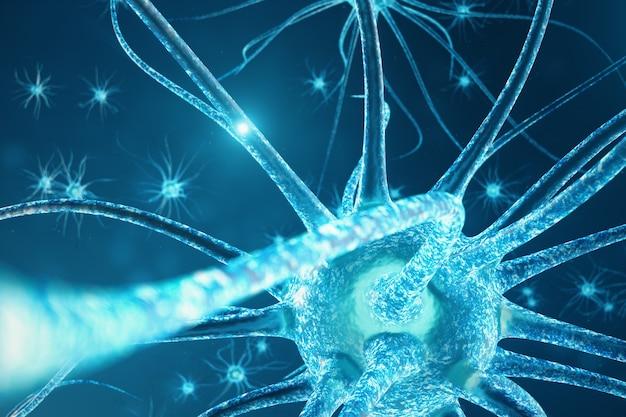 Ilustração conceitual de células de neurônio com nós de ligação brilhante Foto Premium