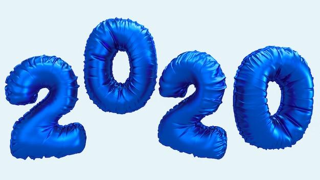 Ilustração da rendição do ano 2020 3d novo. números de folha metálica azul letras voando no ar. Foto Premium