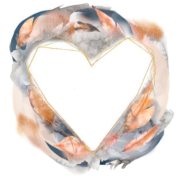Ilustração de aquarela mão desenhada penas abstratas coroa de coração Foto Premium