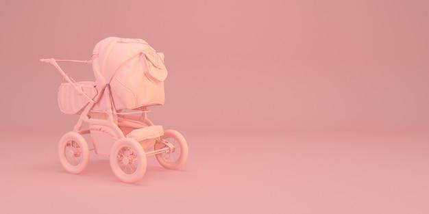 Ilustração de carrinho de bebê mínima na rosa 3d render Foto Premium