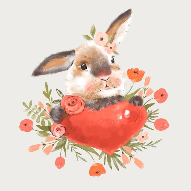 Ilustração de coelhinha fofa com coração e flores Foto Premium