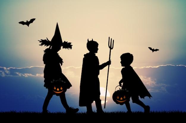 Ilustração de crianças com doces ou travessuras para o halloween Foto Premium