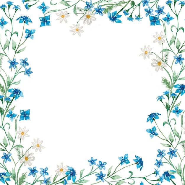 Ilustração de grinalda de flores silvestres de verão desenhados à mão em aquarela Foto Premium