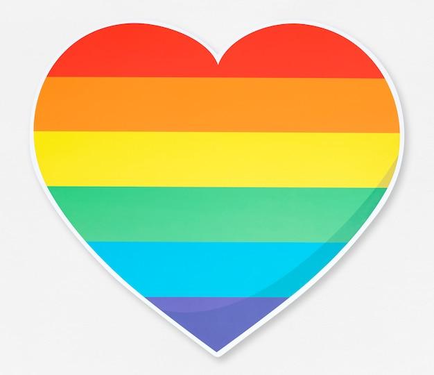 Ilustração de ícone de coração isolado lgbt Foto Premium