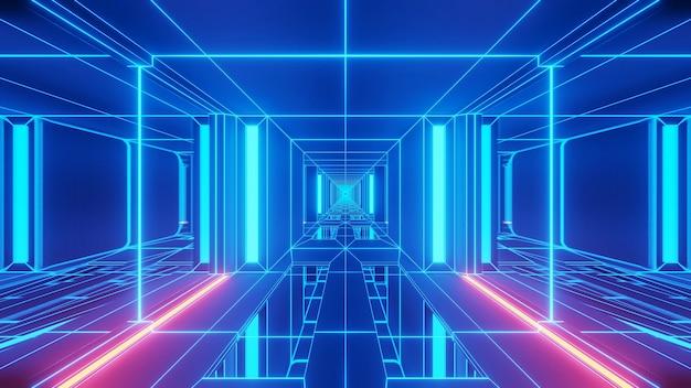 Ilustração de luzes azuis em formas retangulares fluindo em uma direção Foto gratuita