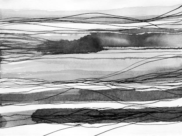 Ilustração de mão desenhada de tinta de paisagem abstrata. Foto Premium
