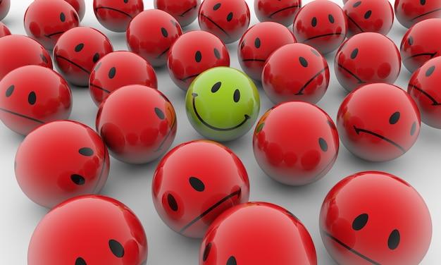 Ilustração de renderização 3d de bolas vermelhas com emoções tristes e uma verde feliz em uma superfície branca Foto gratuita