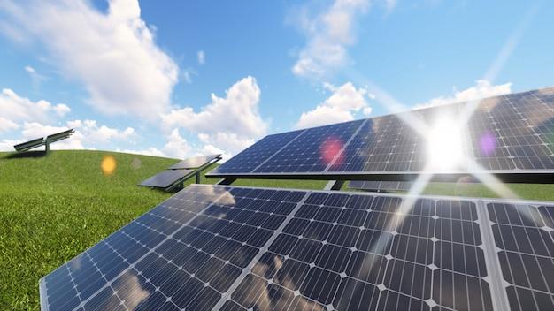 Ilustração de renderização 3d de energia de células solares Foto Premium