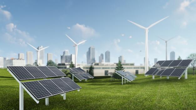 Ilustração de renderização 3d de energia sustentável de moinho de vento e células solares Foto Premium