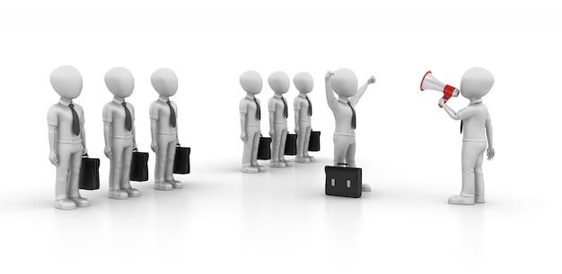 Ilustração de renderização 3d de personagens de desenhos animados negócios com megafone Foto Premium