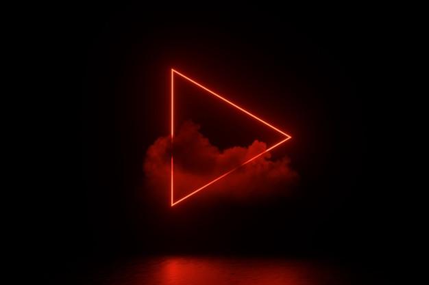 Ilustração de renderização 3d. quarto vazio escuro futurista de sci fi com néon brilhante. Foto Premium