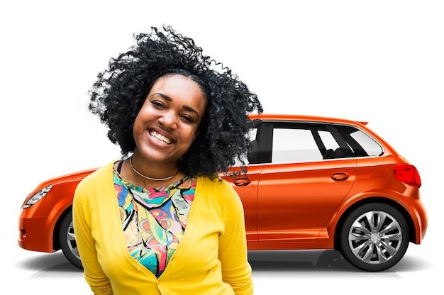 Ilustração, de, um, laranja, hatchback, car, com, um, mulher Foto Premium