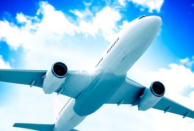 Ilustração, de, um, voando, avião Foto Premium