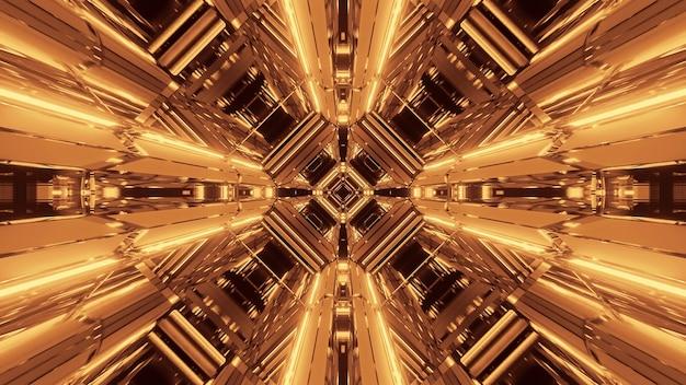 Ilustração de várias luzes douradas em movimento fluindo em uma direção Foto gratuita
