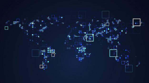Ilustração do gráfico da tecnologia de digitas da rede do mapa do mundo. cor azul. conceito futurista de internet. Foto Premium