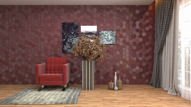 Ilustração do interior da sala de estar Foto Premium