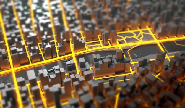 Ilustração em 3d futurista da mega paisagem urbana Foto Premium