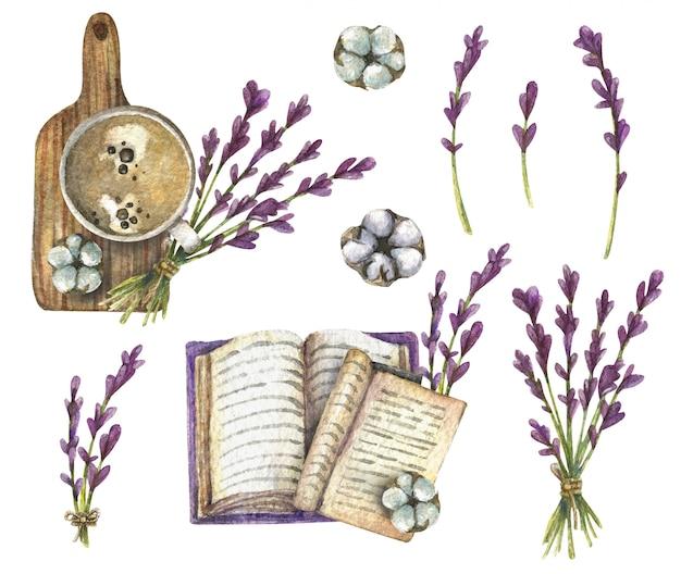 Ilustração em aquarela. vista superior de lavanda, xícara de café, livro, algodão, placa de madeira. Foto Premium