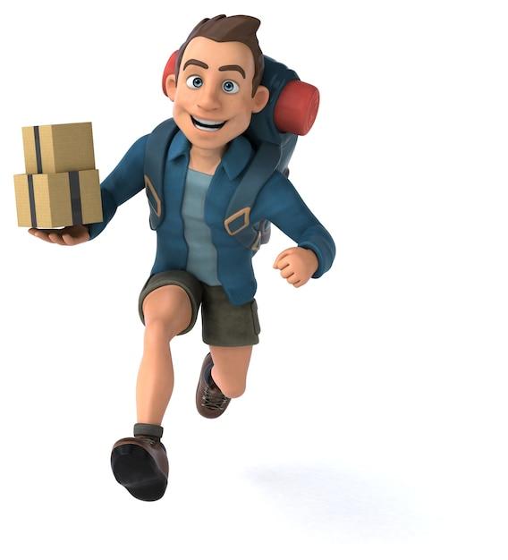 Ilustração engraçada de um mochileiro de desenho animado em 3d Foto Premium