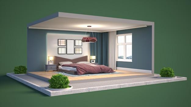 Ilustração interior do quarto em uma caixa Foto Premium