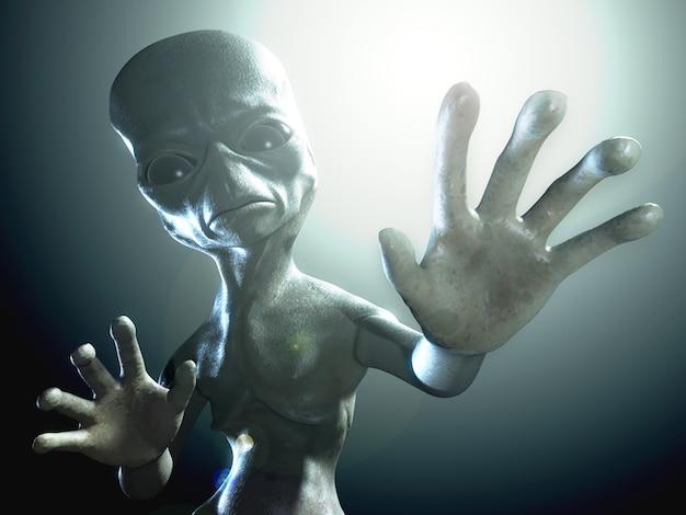 Ilustração renderizada em 3d de um personagem alienígena humanóide Foto Premium