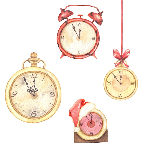 Ilustrações em aquarela clip-art natal com relógios vintage em ouro. Foto Premium