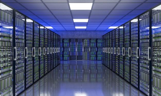 Imagem 3d de farm de servidores Foto Premium