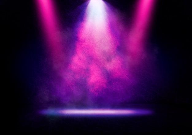 Imagem abstrata de uma luz de discoteca em um fundo de palco Foto Premium
