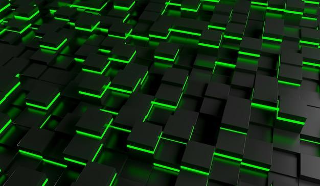Imagem abstrata do fundo dos cubos na luz verde. ilustração de renderização 3d Foto Premium