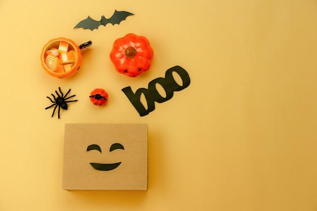 Imagem aérea de tabela vista superior da decoração feliz dia das bruxas dia plano de fundo Foto Premium