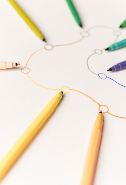 Imagem da rota linear com pontos pintados com marcadores coloridos em papel branco. espaço para logotipo, títulos Foto gratuita