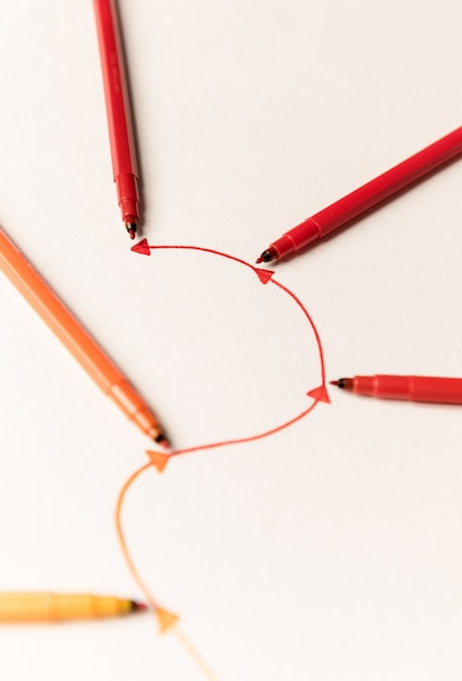 Imagem da rota linear pintada com marcadores Foto gratuita